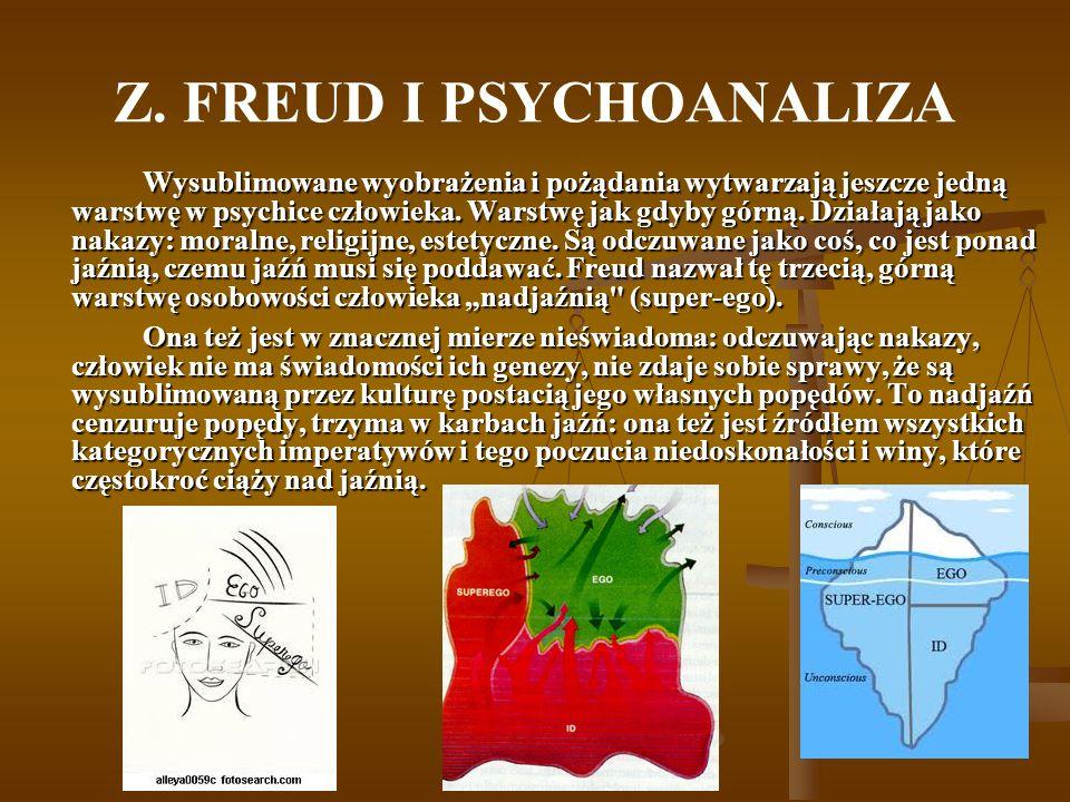 Z. FREUD I PSYCHOANALIZA Wysublimowane wyobrażenia i pożądania wytwarzają jeszcze jedną warstwę w psychice człowieka. Warstwę jak gdyby górną. Działaj