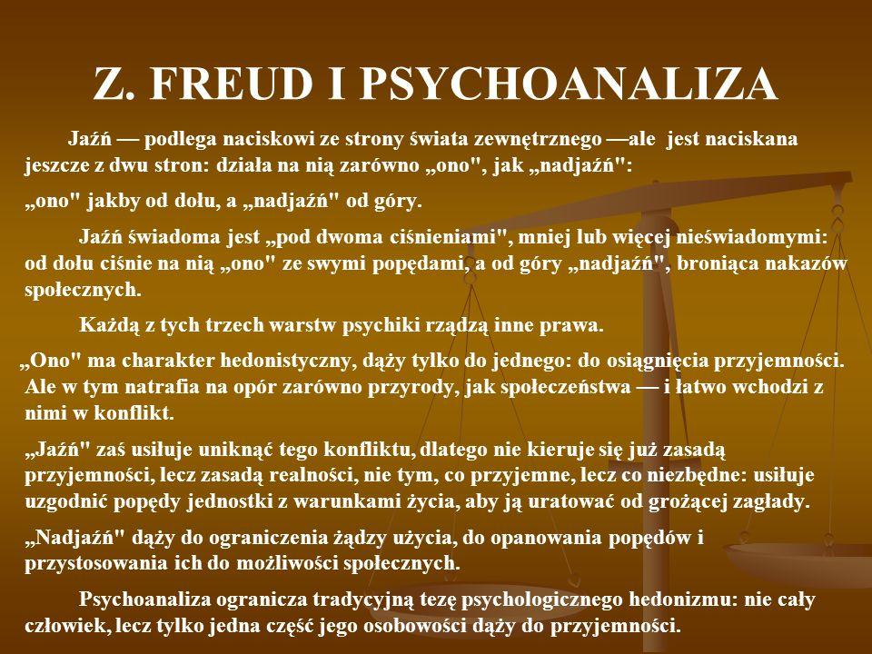 Z. FREUD I PSYCHOANALIZA Jaźń podlega naciskowi ze strony świata zewnętrznego ale jest naciskana jeszcze z dwu stron: działa na nią zarówno ono