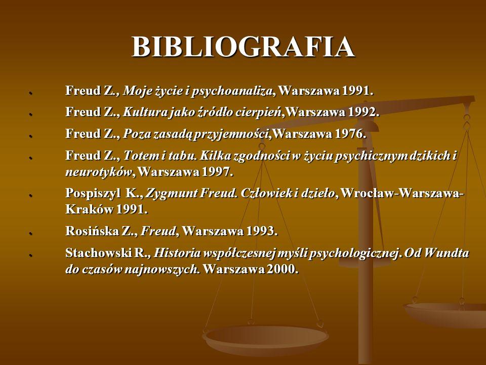 BIBLIOGRAFIA Freud Z., Moje życie i psychoanaliza, Warszawa 1991. Freud Z., Moje życie i psychoanaliza, Warszawa 1991. Freud Z., Kultura jako źródło c