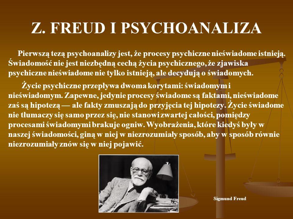 Z. FREUD I PSYCHOANALIZA Pierwszą tezą psychoanalizy jest, że procesy psychiczne nieświadome istnieją. Świadomość nie jest niezbędną cechą życia psych