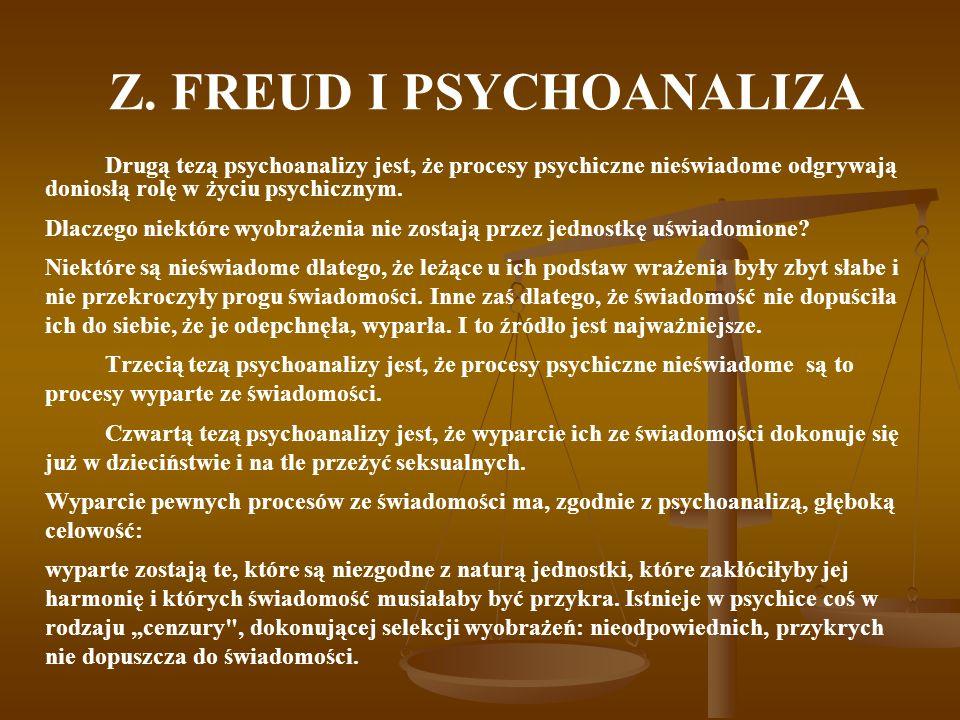 Z. FREUD I PSYCHOANALIZA Drugą tezą psychoanalizy jest, że procesy psychiczne nieświadome odgrywają doniosłą rolę w życiu psychicznym. Dlaczego niektó