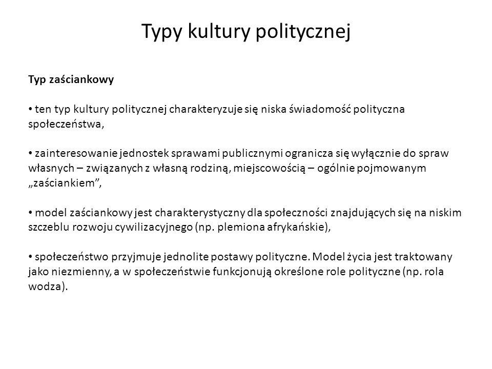 Typy kultury politycznej Typ zaściankowy ten typ kultury politycznej charakteryzuje się niska świadomość polityczna społeczeństwa, zainteresowanie jed