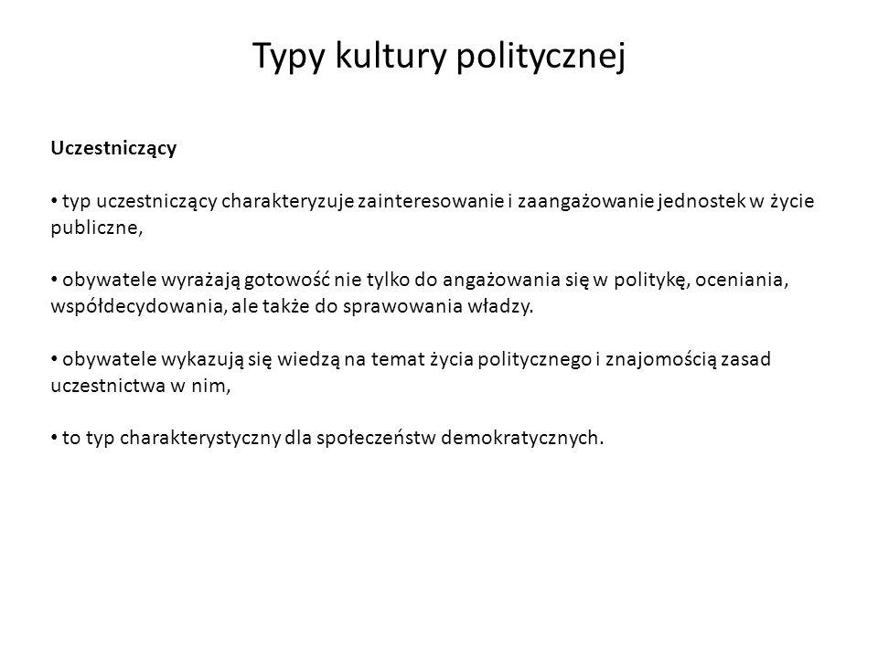 Typy kultury politycznej Uczestniczący typ uczestniczący charakteryzuje zainteresowanie i zaangażowanie jednostek w życie publiczne, obywatele wyrażaj