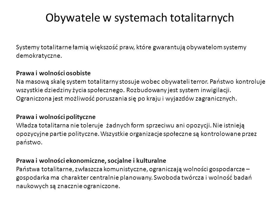 Obywatele w systemach totalitarnych Systemy totalitarne łamią większość praw, które gwarantują obywatelom systemy demokratyczne. Prawa i wolności osob