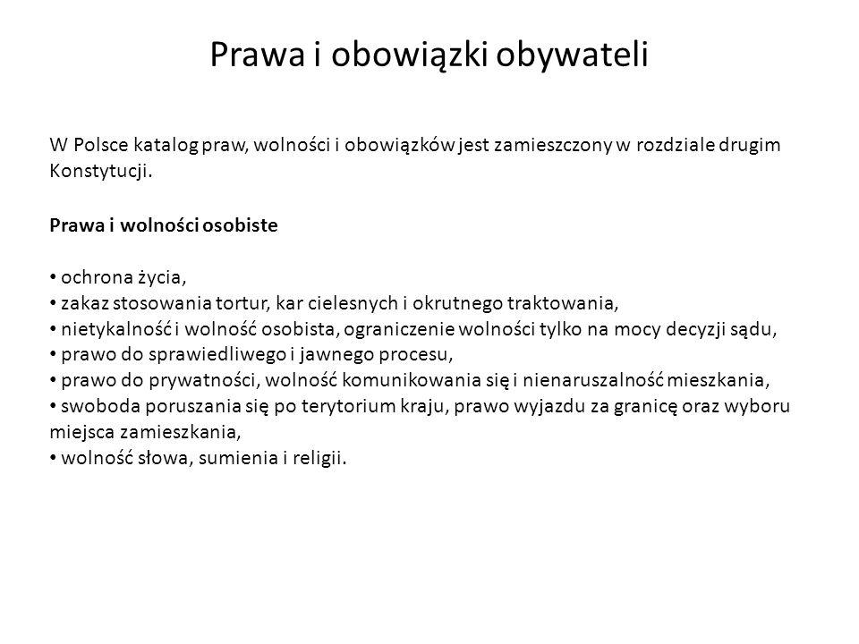 W Polsce katalog praw, wolności i obowiązków jest zamieszczony w rozdziale drugim Konstytucji. Prawa i obowiązki obywateli Prawa i wolności osobiste o