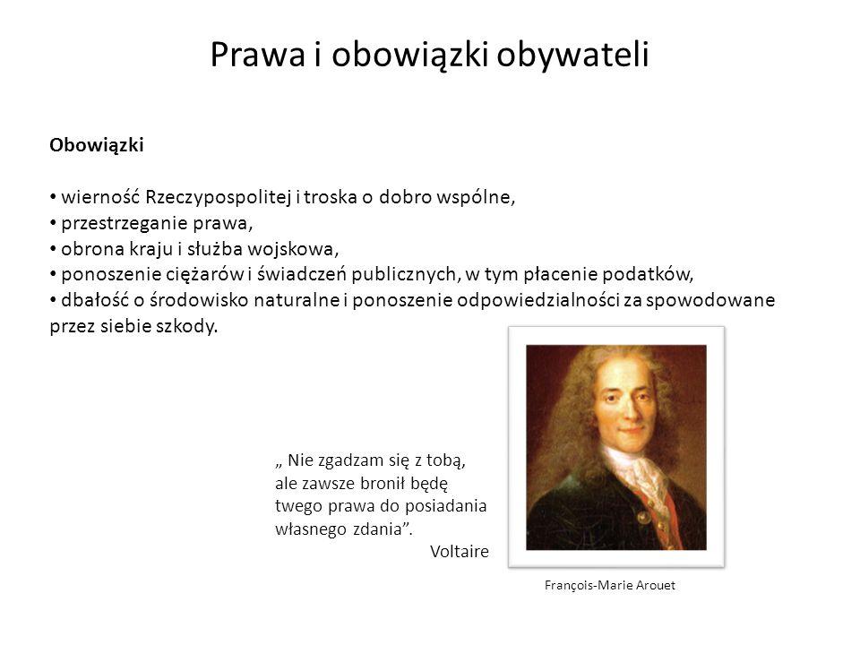 Obowiązki wierność Rzeczypospolitej i troska o dobro wspólne, przestrzeganie prawa, obrona kraju i służba wojskowa, ponoszenie ciężarów i świadczeń pu