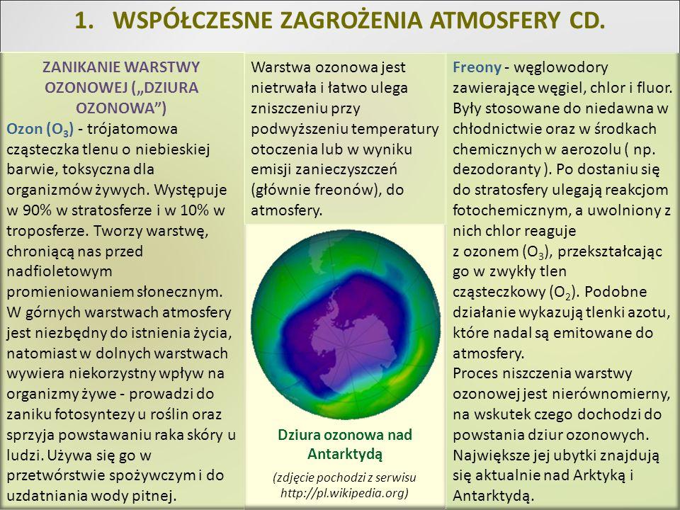 1.WSPÓŁCZESNE ZAGROŻENIA ATMOSFERY CD. ZANIKANIE WARSTWY OZONOWEJ (DZIURA OZONOWA) Ozon (O 3 ) - trójatomowa cząsteczka tlenu o niebieskiej barwie, to