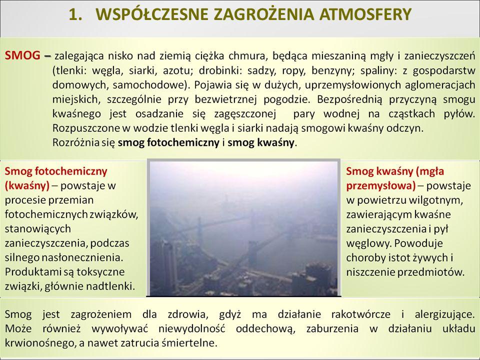 1.WPŁYW ZANIECZYSZCZEŃ POWIETRZA NA PRZYRODĘ NIEOŻYWIONĄ Zmiany klimatyczne i anomalie pogodowe np.