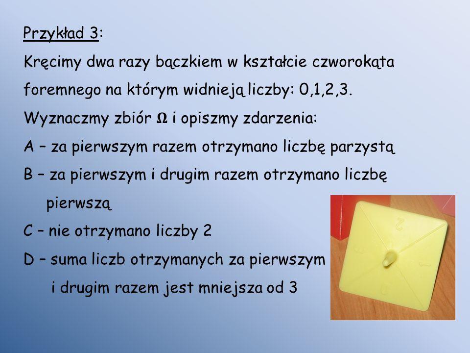 Przykład 3: Kręcimy dwa razy bączkiem w kształcie czworokąta foremnego na którym widnieją liczby: 0,1,2,3. Wyznaczmy zbiór i opiszmy zdarzenia: A – za
