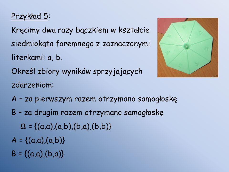 Przykład 5: Kręcimy dwa razy bączkiem w kształcie siedmiokąta foremnego z zaznaczonymi literkami: a, b. Określ zbiory wyników sprzyjających zdarzeniom