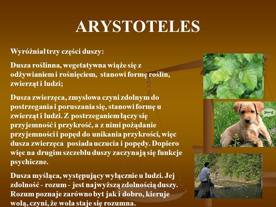 ARYSTOTELES Wyróżniał trzy części duszy: Dusza roślinna, wegetatywna wiąże się z odżywianiem i rośnięciem, stanowi formę roślin, zwierząt i ludzi; Dus