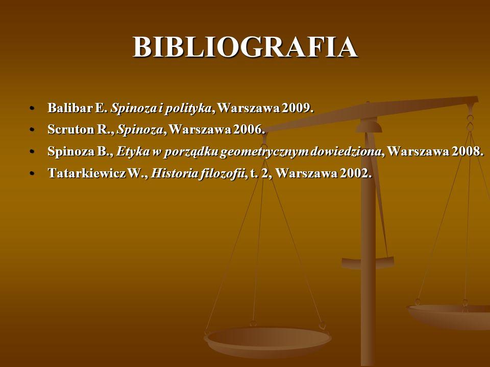 BIBLIOGRAFIA Balibar E. Spinoza i polityka, Warszawa 2009.Balibar E. Spinoza i polityka, Warszawa 2009. Scruton R., Spinoza, Warszawa 2006.Scruton R.,
