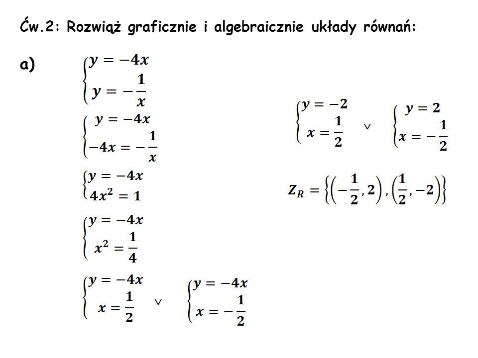 Ćw.2: Rozwiąż graficznie i algebraicznie układy równań: a)