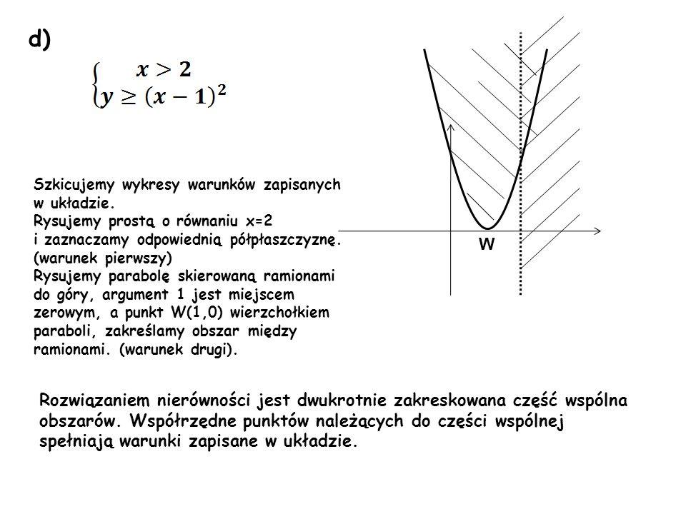 d) Rozwiązaniem nierówności jest dwukrotnie zakreskowana część wspólna obszarów. Współrzędne punktów należących do części wspólnej spełniają warunki z