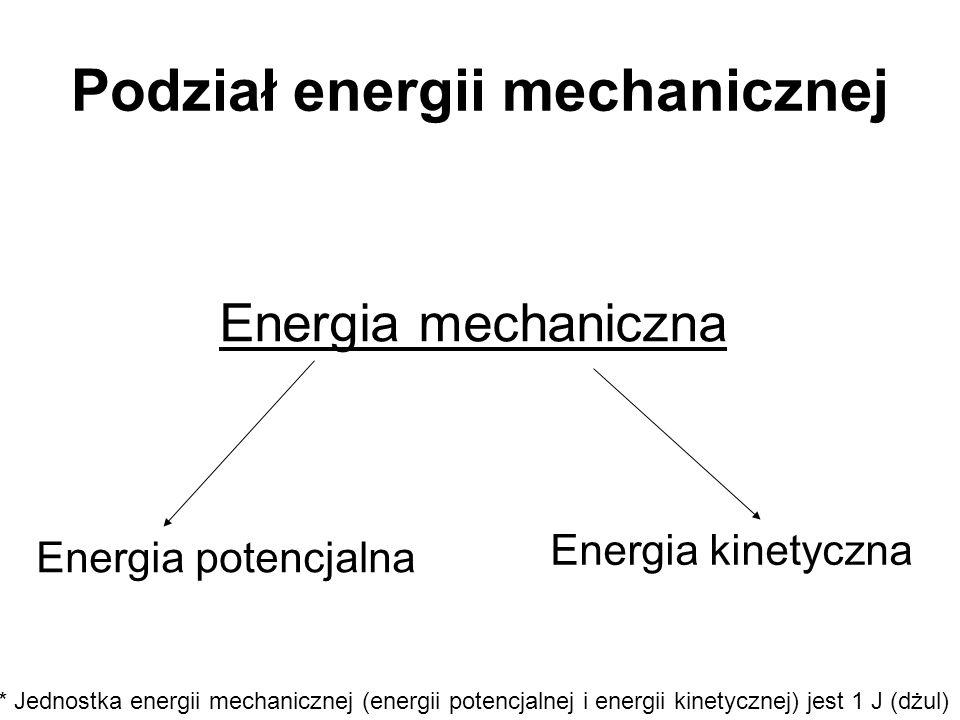 Podział energii mechanicznej Energia mechaniczna Energia kinetyczna Energia potencjalna * Jednostka energii mechanicznej (energii potencjalnej i energ
