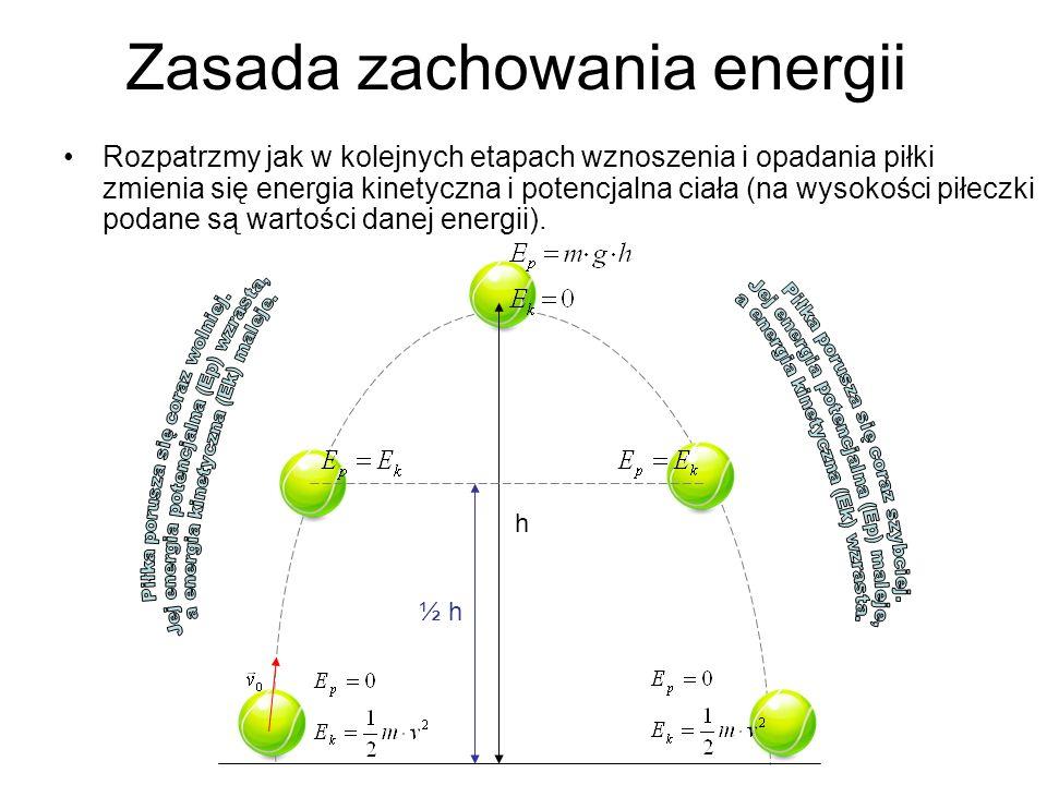 Zasada zachowania energii Rozpatrzmy jak w kolejnych etapach wznoszenia i opadania piłki zmienia się energia kinetyczna i potencjalna ciała (na wysoko