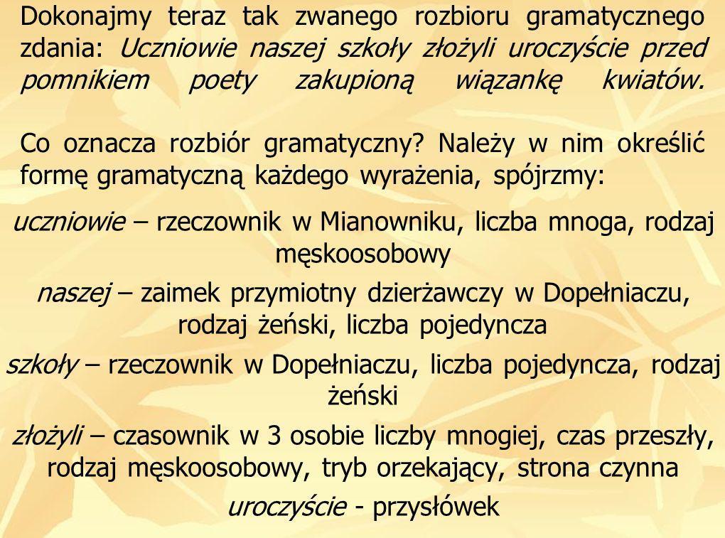 przed – przyimek pomnikiem – rzeczownik w Narzędniku, liczba pojedyncza, rodzaj męski poety – rzeczownik w Dopełniaczu, liczba pojedyncza, rodzaj męski zakupioną – imiesłów przymiotnikowy czynny w Bierniku, liczba pojedyncza, rodzaj żeński wiązankę – rzeczownik w Bierniku, liczba pojedyncza, rodzaj żeński kwiatów – rzeczownik w Dopełniaczu, liczba mnoga, rodzaj niemęskoosobowy