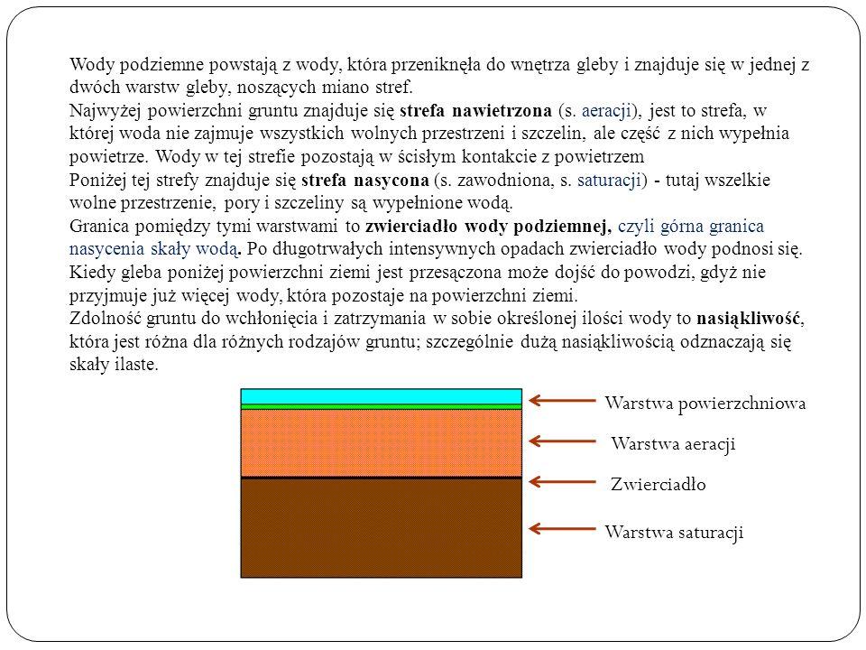 Wody przypowierzchniowe (wody zaskórne)- znajdują się tuż pod powierzchnią terenu, do 2 m i są zasilane przede wszystkim opadami atmosferycznymi.