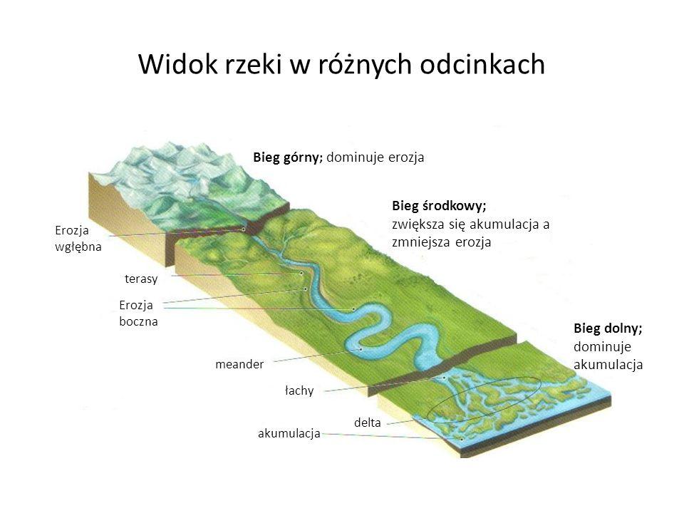 Widok rzeki w różnych odcinkach Erozja wgłębna terasy Erozja boczna meander łachy delta akumulacja Bieg górny ; dominuje erozja Bieg środkowy; zwiększ