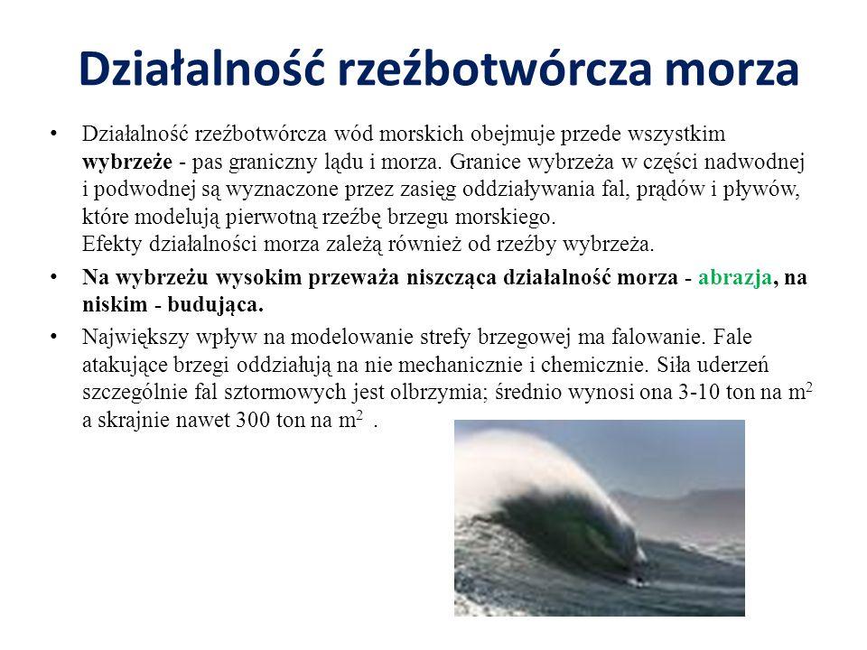 Działalność rzeźbotwórcza morza Działalność rzeźbotwórcza wód morskich obejmuje przede wszystkim wybrzeże - pas graniczny lądu i morza. Granice wybrze