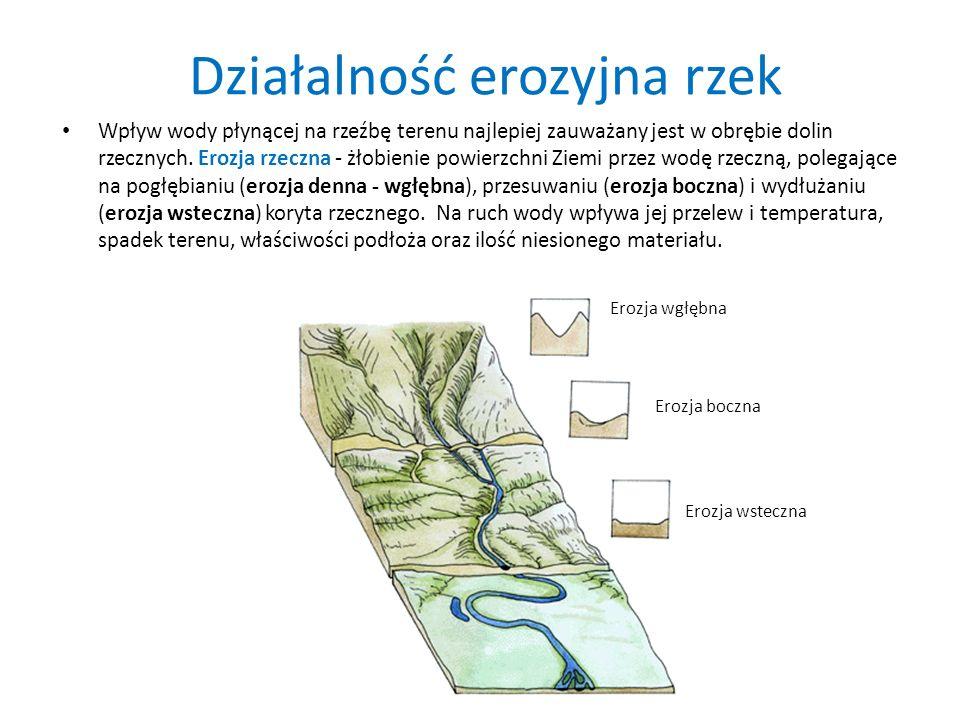 Działalność erozyjna rzek Wpływ wody płynącej na rzeźbę terenu najlepiej zauważany jest w obrębie dolin rzecznych. Erozja rzeczna - żłobienie powierzc