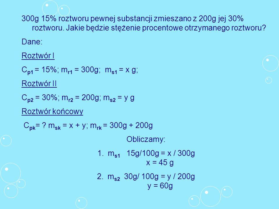 300g 15% roztworu pewnej substancji zmieszano z 200g jej 30% roztworu. Jakie będzie stężenie procentowe otrzymanego roztworu? Dane: Roztwór I C p1 = 1