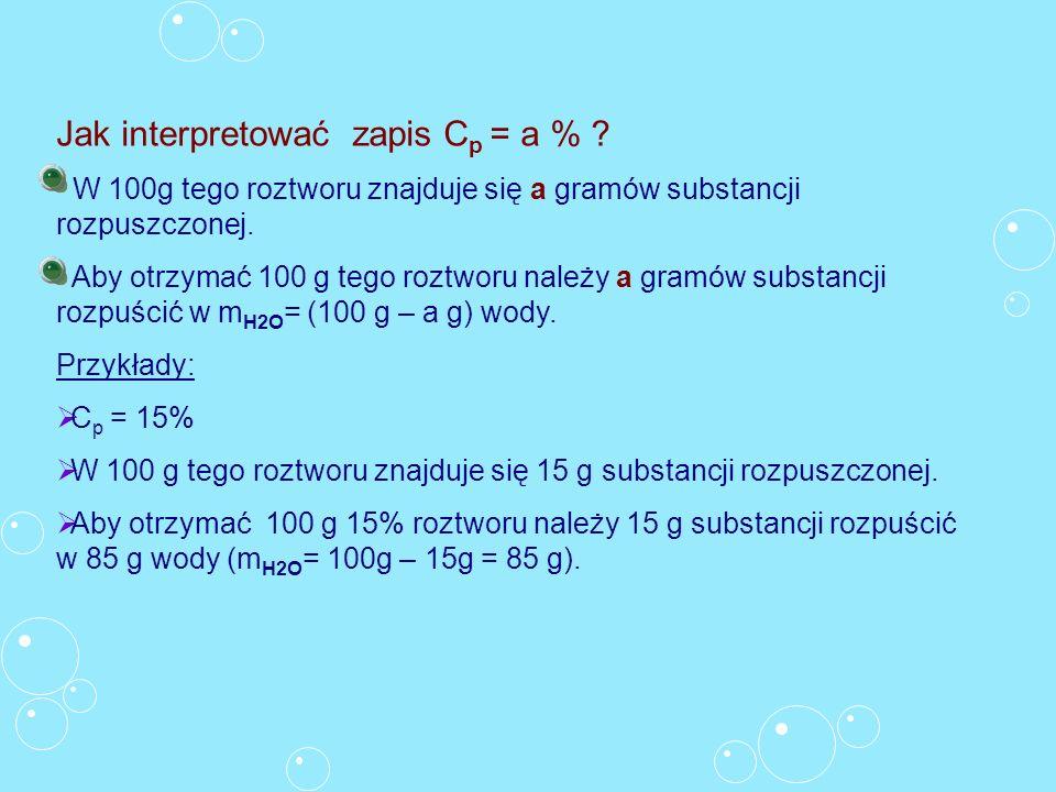 Jak interpretować zapis C p = a % ? W 100g tego roztworu znajduje się a gramów substancji rozpuszczonej. Aby otrzymać 100 g tego roztworu należy a gra