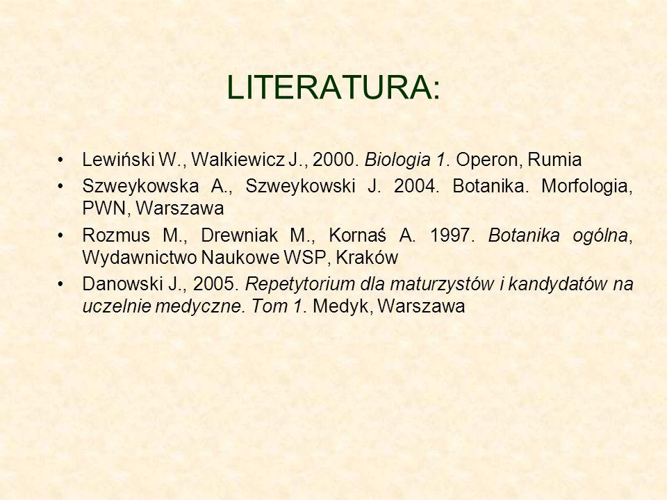 LITERATURA: Lewiński W., Walkiewicz J., 2000. Biologia 1. Operon, Rumia Szweykowska A., Szweykowski J. 2004. Botanika. Morfologia, PWN, Warszawa Rozmu