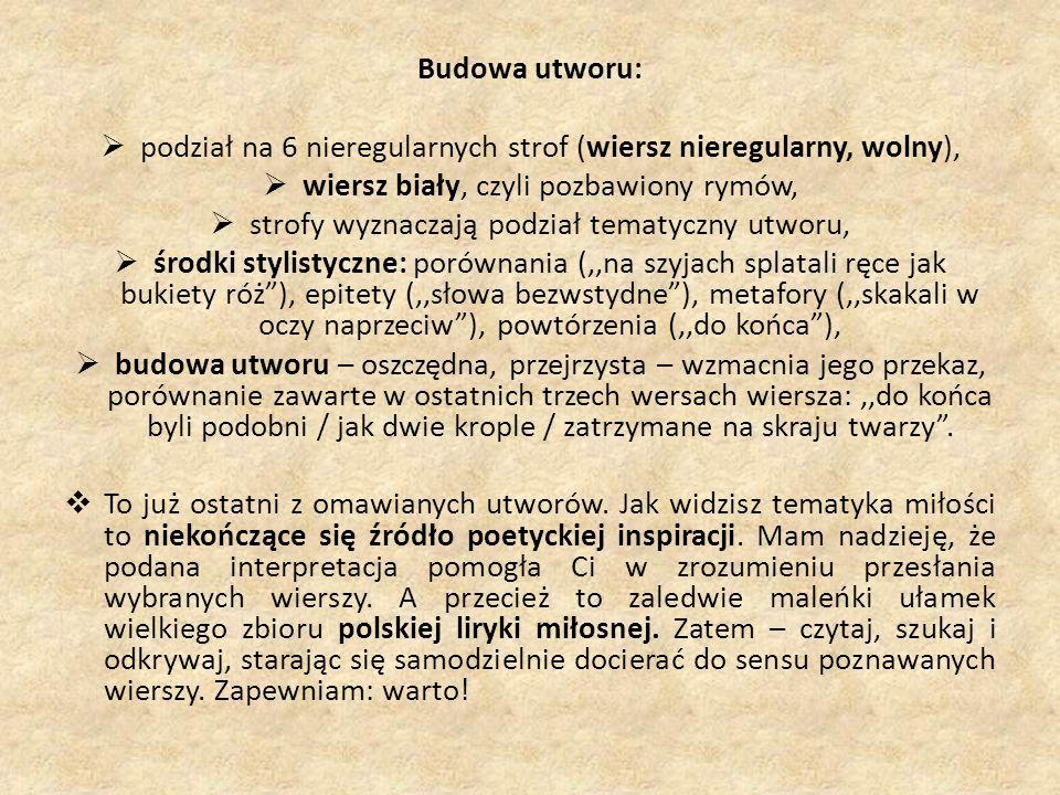 Budowa utworu: podział na 6 nieregularnych strof (wiersz nieregularny, wolny), wiersz biały, czyli pozbawiony rymów, strofy wyznaczają podział tematyc
