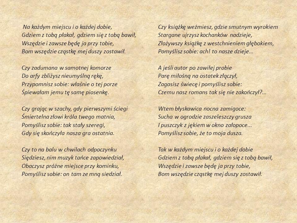 ,,Do M*** – sytuacja liryczna Co zwróciło Twoją uwagę po przeczytaniu tego wiersza.