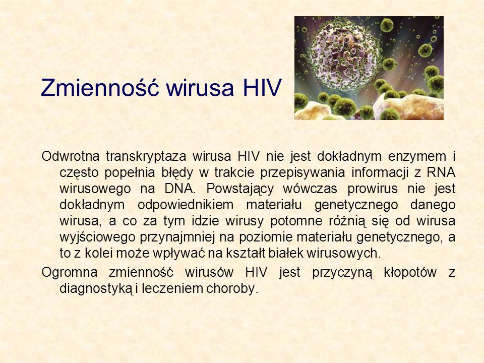 Zmienność wirusa HIV Odwrotna transkryptaza wirusa HIV nie jest dokładnym enzymem i często popełnia błędy w trakcie przepisywania informacji z RNA wir