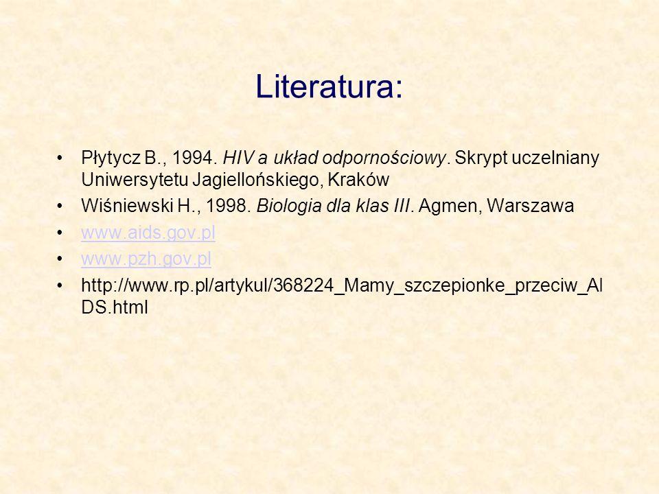 Literatura: Płytycz B., 1994. HIV a układ odpornościowy. Skrypt uczelniany Uniwersytetu Jagiellońskiego, Kraków Wiśniewski H., 1998. Biologia dla klas
