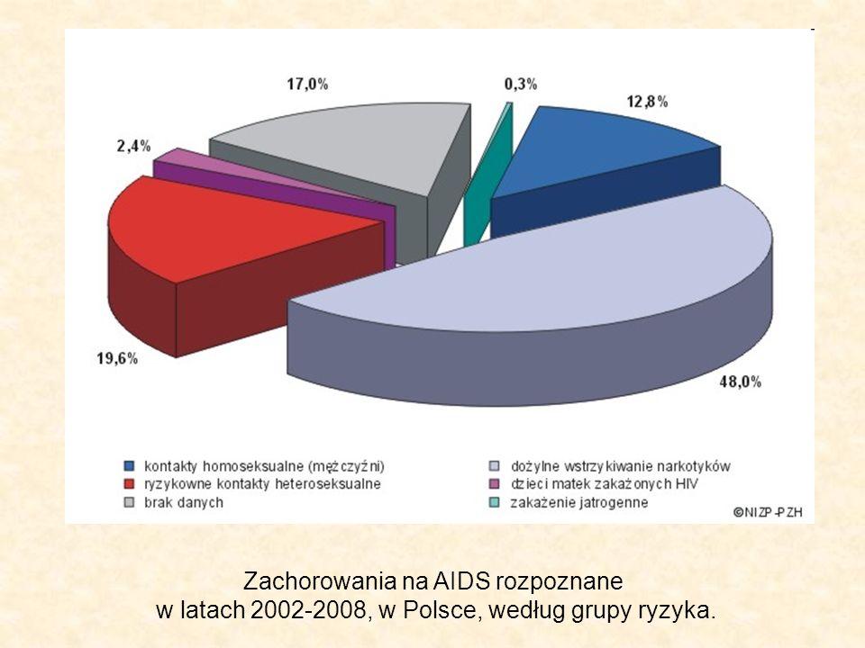 Zachorowania na AIDS rozpoznane w latach 2002-2008, w Polsce, według grupy ryzyka.