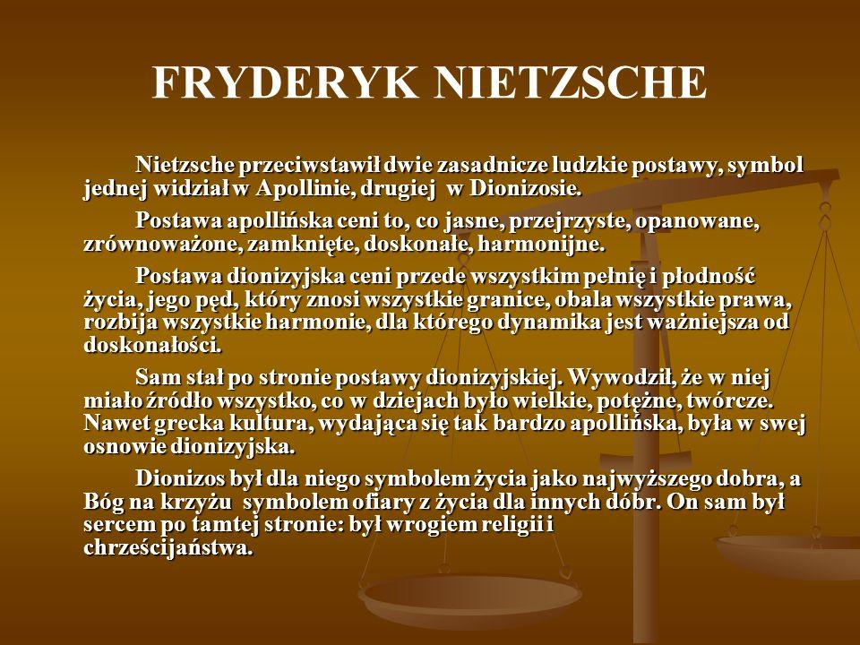 FRYDERYK NIETZSCHE Nietzsche przeciwstawił dwie zasadnicze ludzkie postawy, symbol jednej widział w Apollinie, drugiej w Dionizosie. Postawa apollińsk