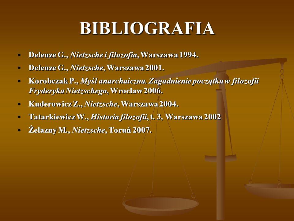 BIBLIOGRAFIA Deleuze G., Nietzsche i filozofia, Warszawa 1994.Deleuze G., Nietzsche i filozofia, Warszawa 1994. Deleuze G., Nietzsche, Warszawa 2001.D