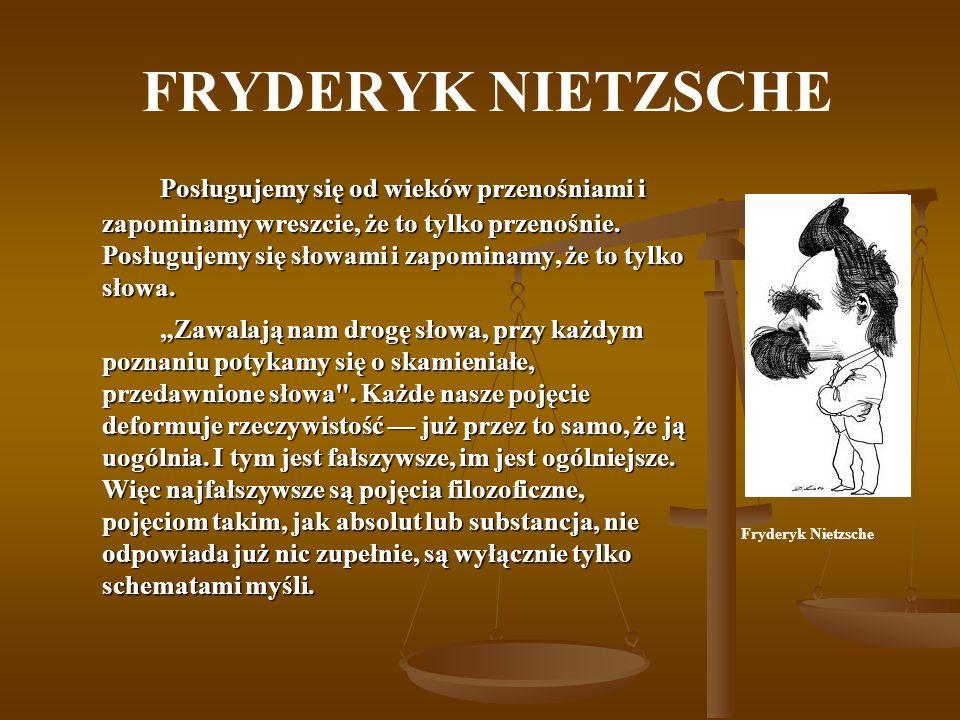 FRYDERYK NIETZSCHE Nietzsche przeciwstawił dwie zasadnicze ludzkie postawy, symbol jednej widział w Apollinie, drugiej w Dionizosie.