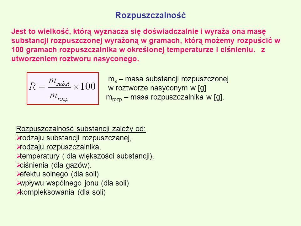 Jest to wielkość, którą wyznacza się doświadczalnie i wyraża ona masę substancji rozpuszczonej wyrażoną w gramach, którą możemy rozpuścić w 100 gramac