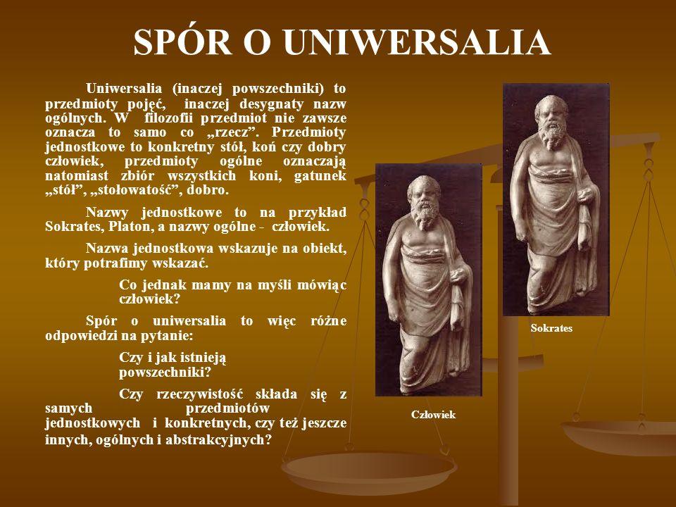 SPÓR O UNIWERSALIA Uniwersalia (inaczej powszechniki) to przedmioty pojęć, inaczej desygnaty nazw ogólnych.