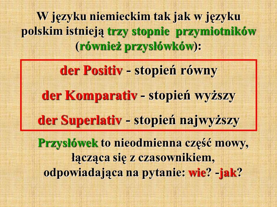 W języku niemieckim tak jak w języku polskim istnieją trzy stopnie przymiotników (również przysłówków): der Positiv - stopień równy der Komparativ - stopień wyższy der Superlativ - stopień najwyższy Przysłówek to nieodmienna część mowy, łącząca się z czasownikiem, odpowiadająca na pytanie: wie.