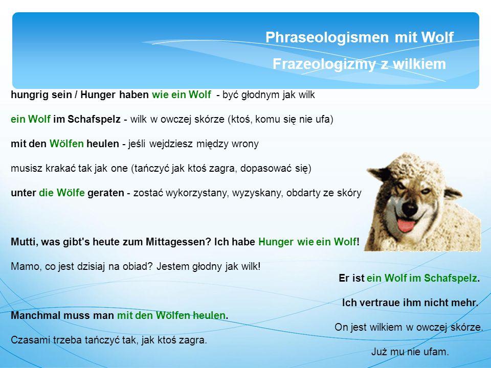 hungrig sein / Hunger haben wie ein Wolf - być głodnym jak wilk ein Wolf im Schafspelz - wilk w owczej skórze (ktoś, komu się nie ufa) mit den Wölfen heulen - jeśli wejdziesz między wrony musisz krakać tak jak one (tańczyć jak ktoś zagra, dopasować się) unter die Wölfe geraten - zostać wykorzystany, wyzyskany, obdarty ze skóry Mutti, was gibt s heute zum Mittagessen.
