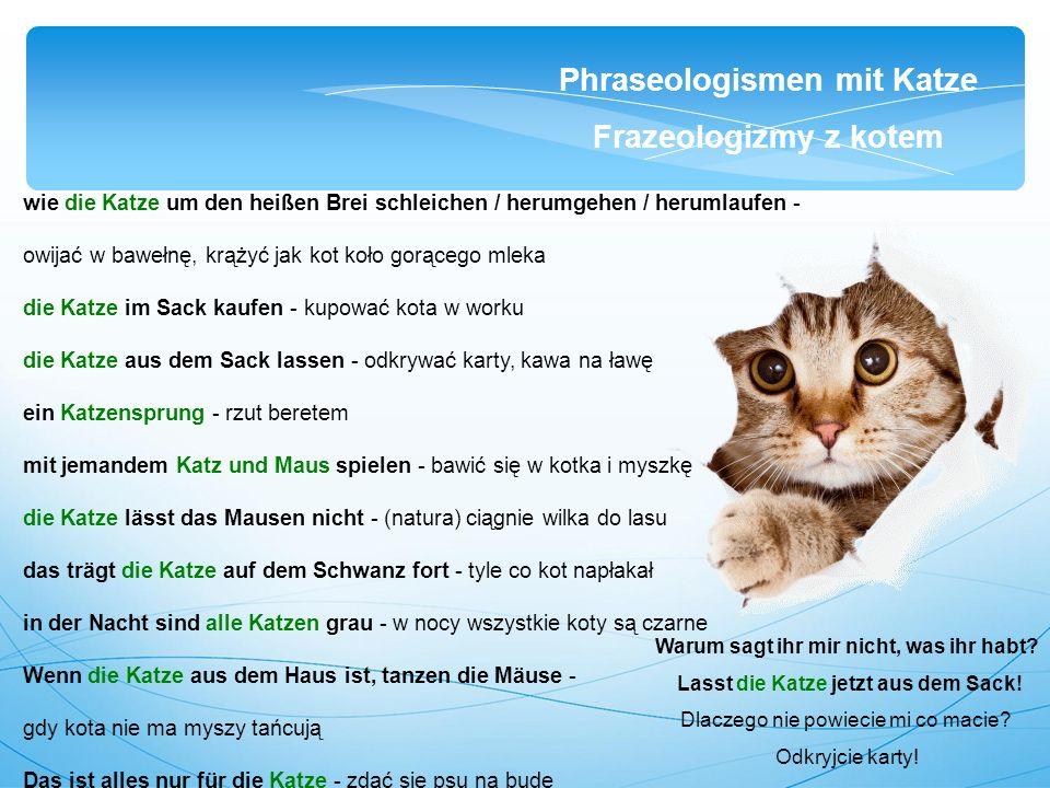 wie die Katze um den heißen Brei schleichen / herumgehen / herumlaufen - owijać w bawełnę, krążyć jak kot koło gorącego mleka die Katze im Sack kaufen - kupować kota w worku die Katze aus dem Sack lassen - odkrywać karty, kawa na ławę ein Katzensprung - rzut beretem mit jemandem Katz und Maus spielen - bawić się w kotka i myszkę die Katze lässt das Mausen nicht - (natura) ciągnie wilka do lasu das trägt die Katze auf dem Schwanz fort - tyle co kot napłakał in der Nacht sind alle Katzen grau - w nocy wszystkie koty są czarne Wenn die Katze aus dem Haus ist, tanzen die Mäuse - gdy kota nie ma myszy tańcują Das ist alles nur für die Katze - zdać się psu na budę Phraseologismen mit Katze Frazeologizmy z kotem Warum sagt ihr mir nicht, was ihr habt.