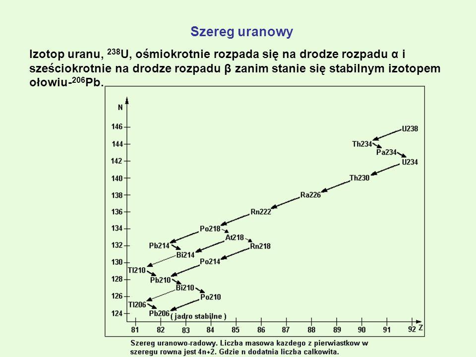Szereg uranowy Izotop uranu, 238 U, ośmiokrotnie rozpada się na drodze rozpadu α i sześciokrotnie na drodze rozpadu β zanim stanie się stabilnym izoto