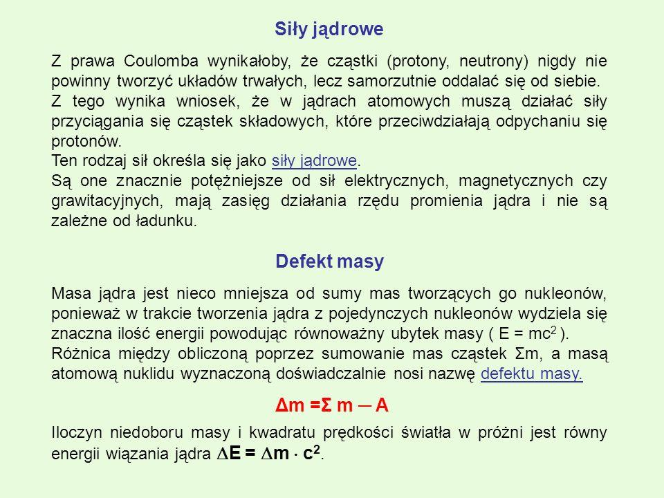 Siły jądrowe Z prawa Coulomba wynikałoby, że cząstki (protony, neutrony) nigdy nie powinny tworzyć układów trwałych, lecz samorzutnie oddalać się od s
