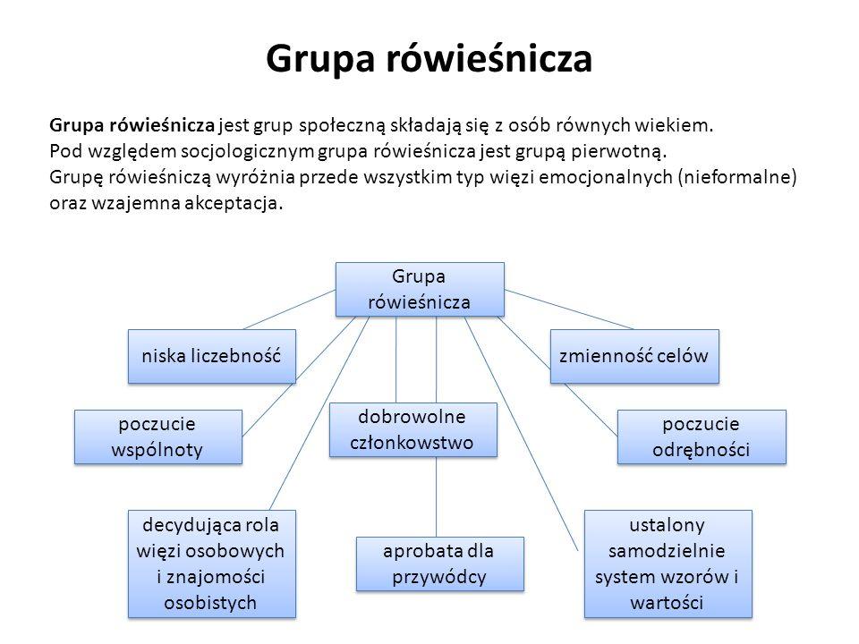 Grupa rówieśnicza Grupa rówieśnicza jest grup społeczną składają się z osób równych wiekiem. Pod względem socjologicznym grupa rówieśnicza jest grupą