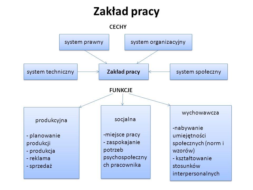 Zakład pracy system techniczny system prawny produkcyjna - planowanie produkcji - produkcja - reklama - sprzedaż produkcyjna - planowanie produkcji -