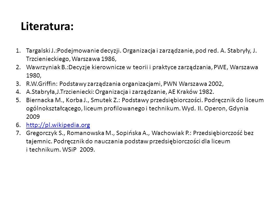 1.Targalski J.:Podejmowanie decyzji. Organizacja i zarządzanie, pod red. A. Stabryły, J. Trzcienieckiego, Warszawa 1986, 2.Wawrzyniak B.:Decyzje kiero