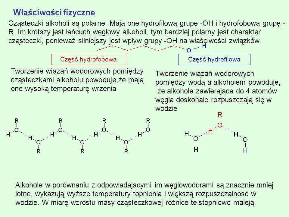 Część hydrofilowaCzęść hydrofobowa Cząsteczki alkoholi są polarne. Mają one hydrofilową grupę -OH i hydrofobową grupę - R. Im krótszy jest łańcuch węg