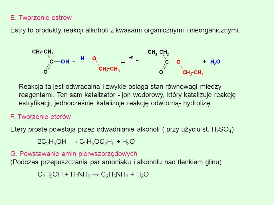E. Tworzenie estrów Estry to produkty reakcji alkoholi z kwasami organicznymi i nieorganicznymi. Reakcja ta jest odwracalna i zwykle osiąga stan równo