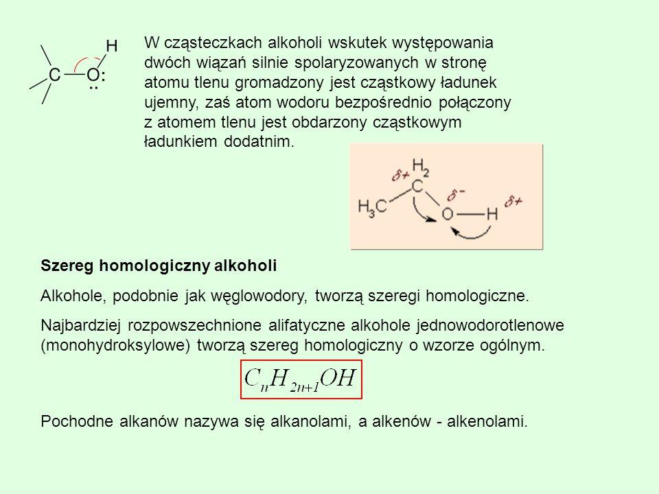 W cząsteczkach alkoholi wskutek występowania dwóch wiązań silnie spolaryzowanych w stronę atomu tlenu gromadzony jest cząstkowy ładunek ujemny, zaś at