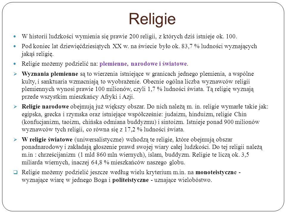 Religie W historii ludzkości wymienia się prawie 200 religii, z których dziś istnieje ok. 100. Pod koniec lat dziewięćdziesiątych XX w. na świecie był